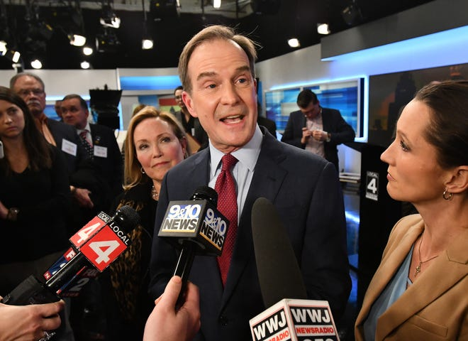 Bill Schuette answers questions from the media after the Michigan Gubernatorial debate between candidates Bill Schuette and Gretchen Whitmer at WDIV studios in Detroit, Michigan on October 24, 2018.