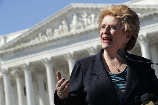 Sen. Debbie Stabenow (holds a news conference with people who may be negatively affected by the proposed American Health Care Act, the Republicans' attempt to repeal and replace Obamacare, outside the U.S. Capitol March 9, 2017 in Washington, DC. Stabenow and fellow Democratic and Independent senators urged Republicans to drop their healthcare legislation, saying it would disproportionally affect people with disabilities and women and small business owners.