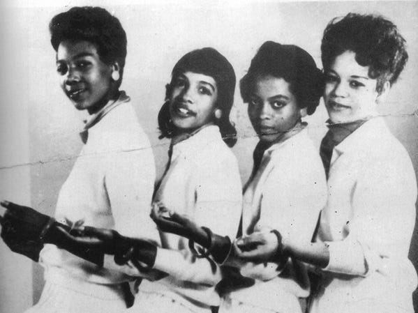 In 1959, before they were the Supremes, four Detroit high school girls became the Primettes: From left,  Betty McGlown, Mary Wilson, Diane (not Diana yet) Ross and Florence Ballard.  The Primettes were formed as a sister group to The Primes, who would later become The Temptations.