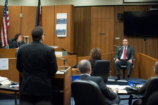 Former Michigan State Police trooper Mark Bessner takes the stand and testifies in his own defense. He claimed self-defense as the reason for using his Taser on 15-year-old, who then crashed his four-wheeler and was killed in the accident. The preceeding took place in the fifth-floor courtroom of Judge Margaret M. Van Houten (far left) at Frank Murphy Hall of Justice in Detroit on Thursday, October 25, 2018.