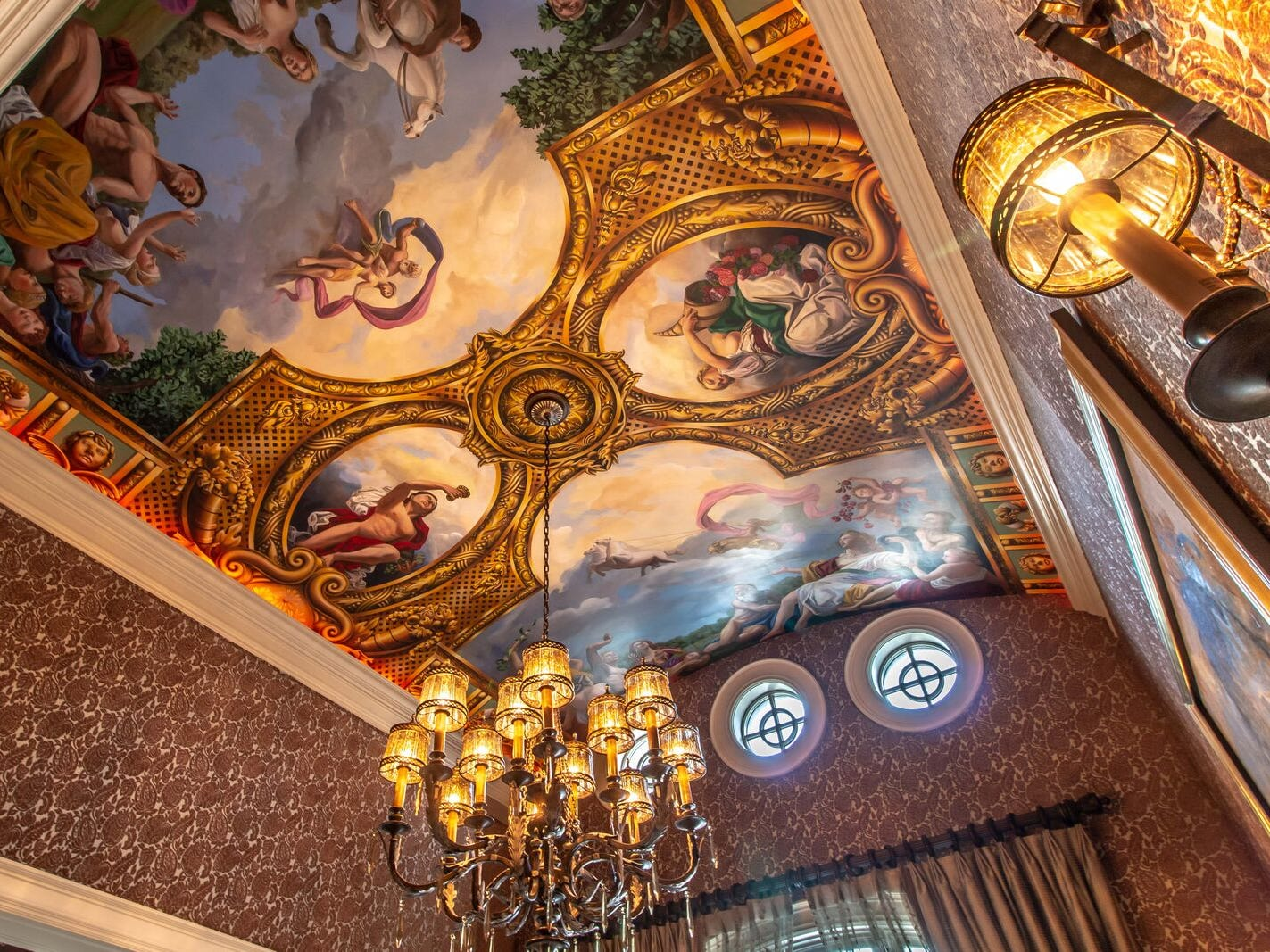 Painted ceilings in the dining room.