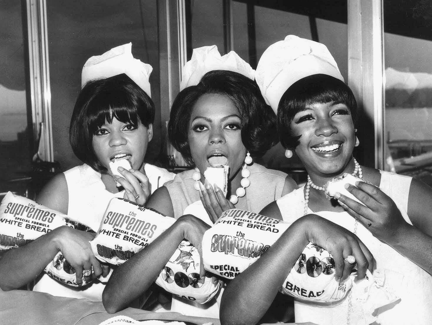 "Motown artists often promoted products in the 1960s. In April 1966, the Supremes, Florence Ballard, left, Diana Ross and Mary Wilson, pitch ""Supremes Bread,"" made by Detroit-based Schaefer Bakeries."