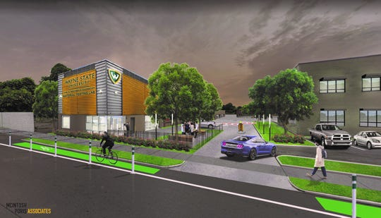 A rendering shows a new building planned for Wayne State University's Highland Park campus.  Donated by the N. Rachmale Foundation, the building will house a material testing lab.