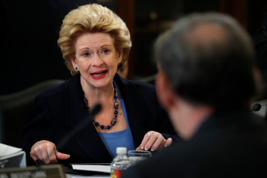 Sen. Debbie Stabenow, D-Mich., ranking member of the Senate Agriculture Committee, left, speaks during a meeting of the committee to consider a bipartisan farm bill that makes mostly modest adjustments to existing programs and, unlike the House version of the bill, doesn't pick a fight over food stamps, on Capitol Hill in Washington,  June 13, 2018. The House version of the farm bill failed on the floor when a group of conservative lawmakers blocked its passage over an unrelated immigration bill.
