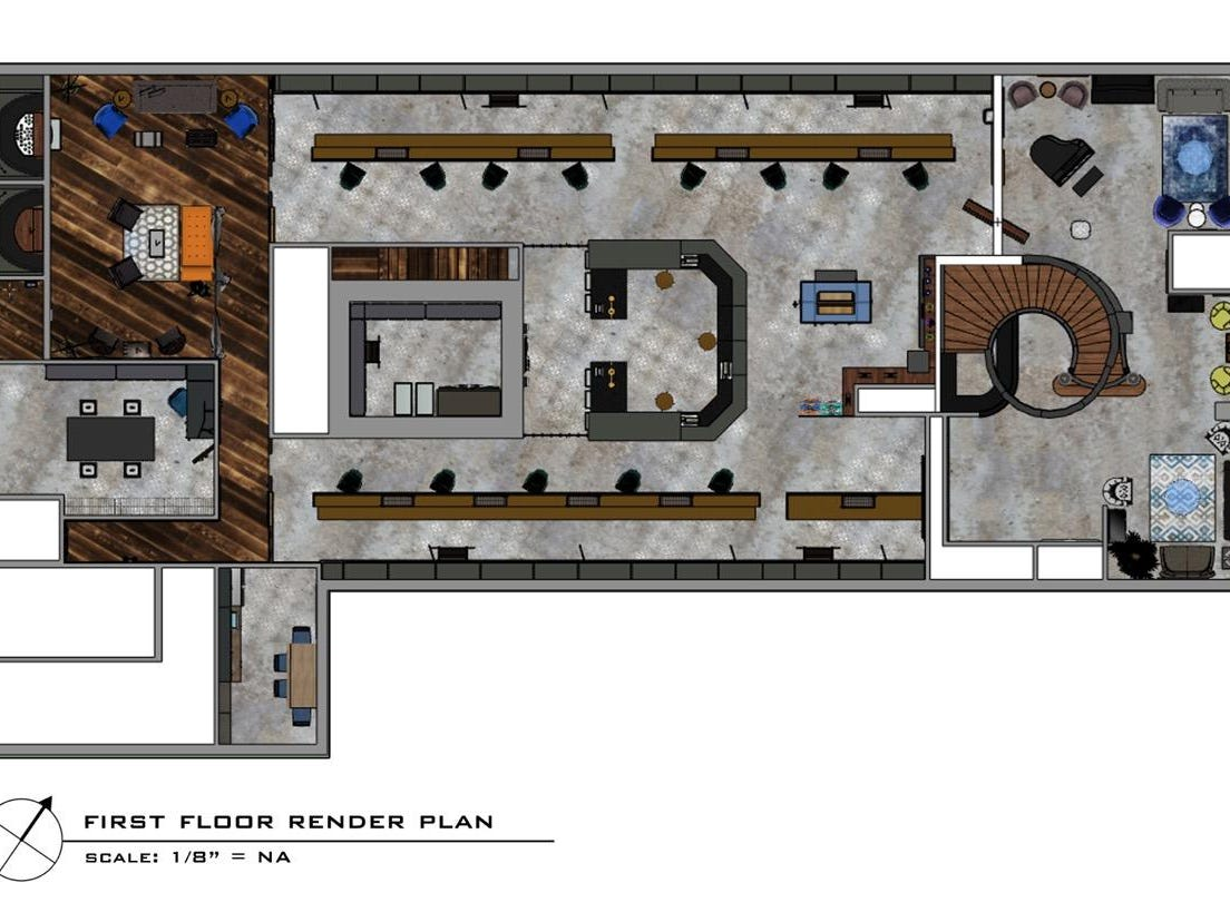 The first floor plan for The Reef's new marijuana cultivation, processing and procurement center is shown in a rendering. Glass flooring in the lobby would allow patients to watch the company's 500-plant growing operations in the basement.