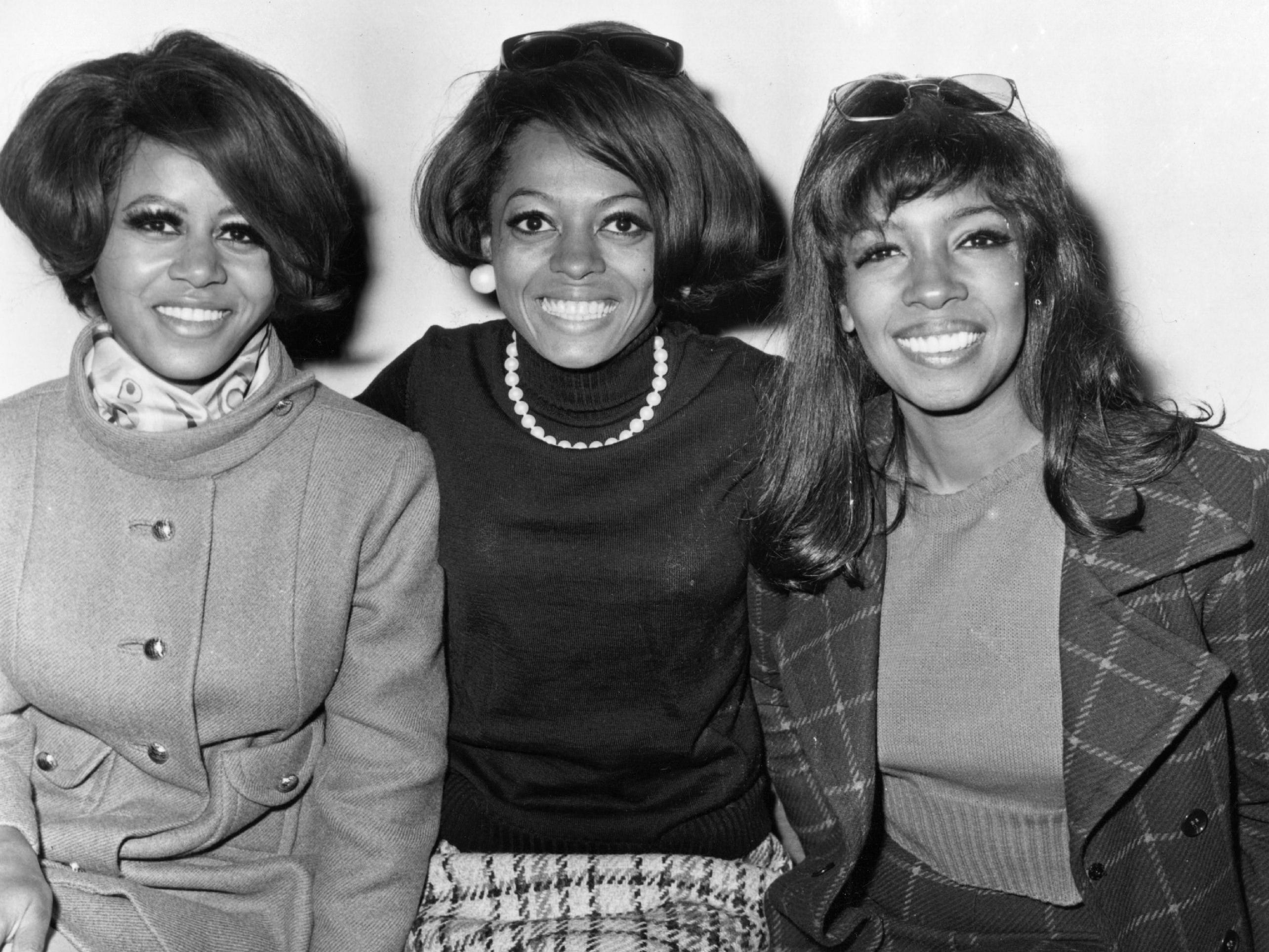 In 1967, Cindy Birdsong, left, started to stand in for Florence Ballard when she missed performances due to alcoholism. She's seen with Diana Ross and Mary Wilson on Jan. 22, 1968. By this time, she was a permanent member of The Supremes.