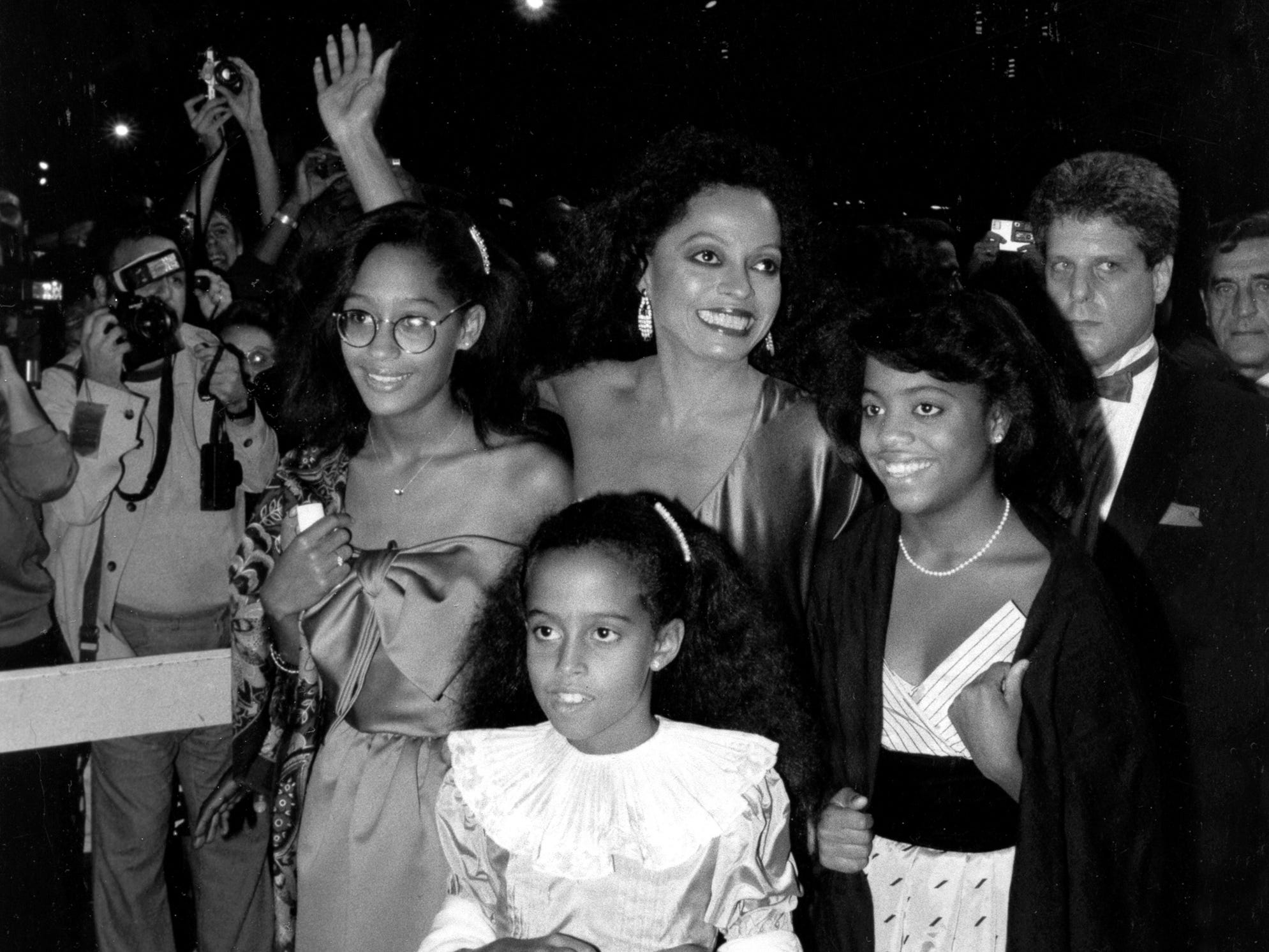Diana Ross arrives with daughters, from left, Tracee, Chudney and Rhonda at New York's Radio City Music Hall for her performance in the first of a series of sold-out concerts on Sept. 19, 1984.