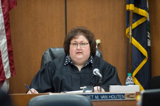 Judge Margaret M. Van Houten presides as former Michigan State Police trooper Mark Bessner takes the stand and testifies in his own defense.