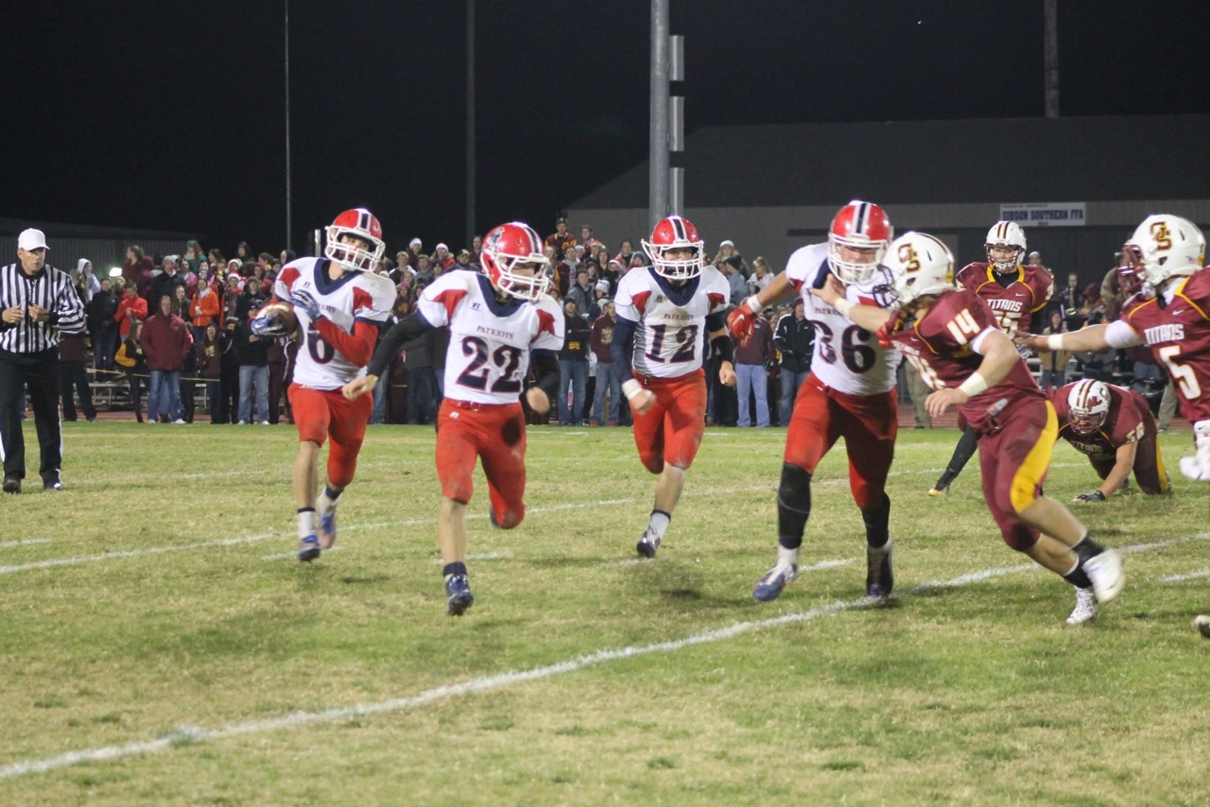 Heritage Hills and Gibson Southern played in the 2014 Class 3A Sectional 32 championship. It was a rematch from earlier in the year, with the Patriots winning in the tournament, 14-13, on Nov. 7.