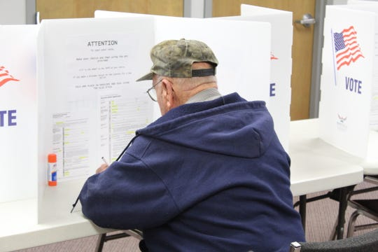 Charles Hoddinger, of Fremont, casts his ballot Thursday during early voting period at Sandusky County Board of Elections.