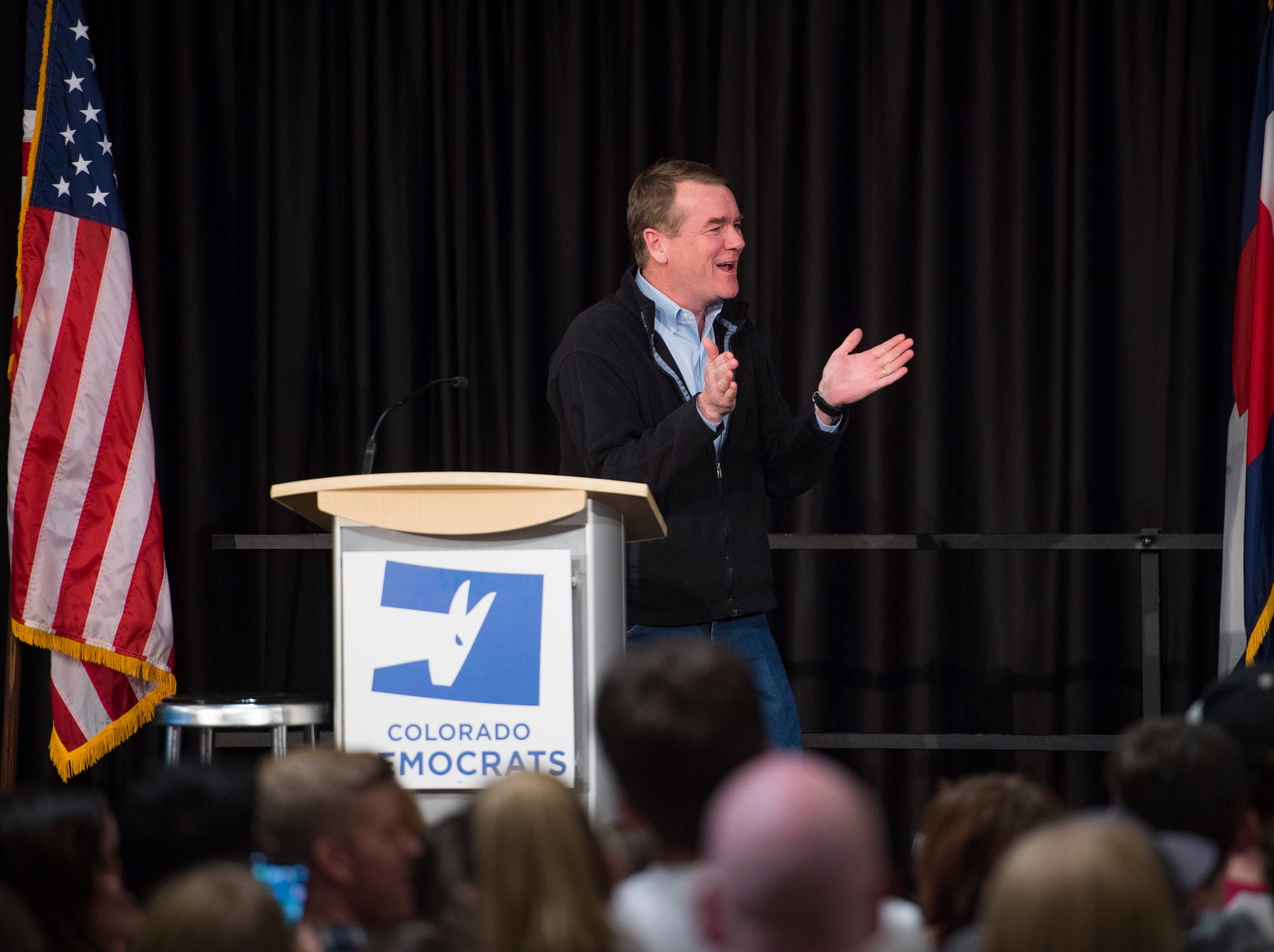 U.S. Sen. Michael Bennett speaks at Colorado Democrats rally featuring Democratic candidate for Colorado Governor Jared Polis, U.S. Sen. Bernie Sanders and congressional candidate Joe Neguse at the Lory Student Center at CSU on Wednesday, October 24, 2018.