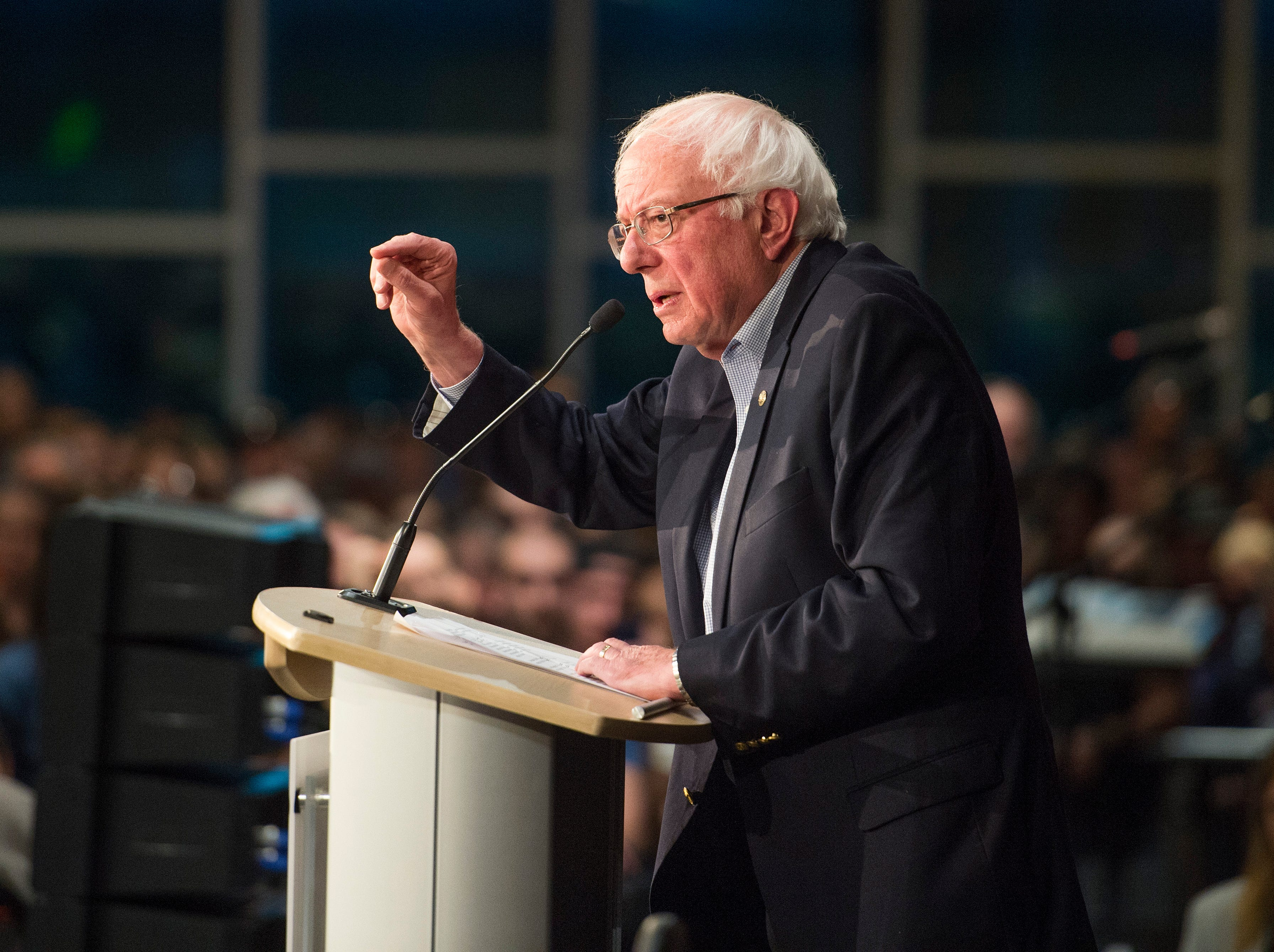U.S. Sen. Bernie Sanders speaks to a crowd of around 1,800 as he  campaigns for Democratic candidate for Colorado Governor Jared Polis during a rally at the Lory Student Center at CSU on Wednesday, October 24, 2018.