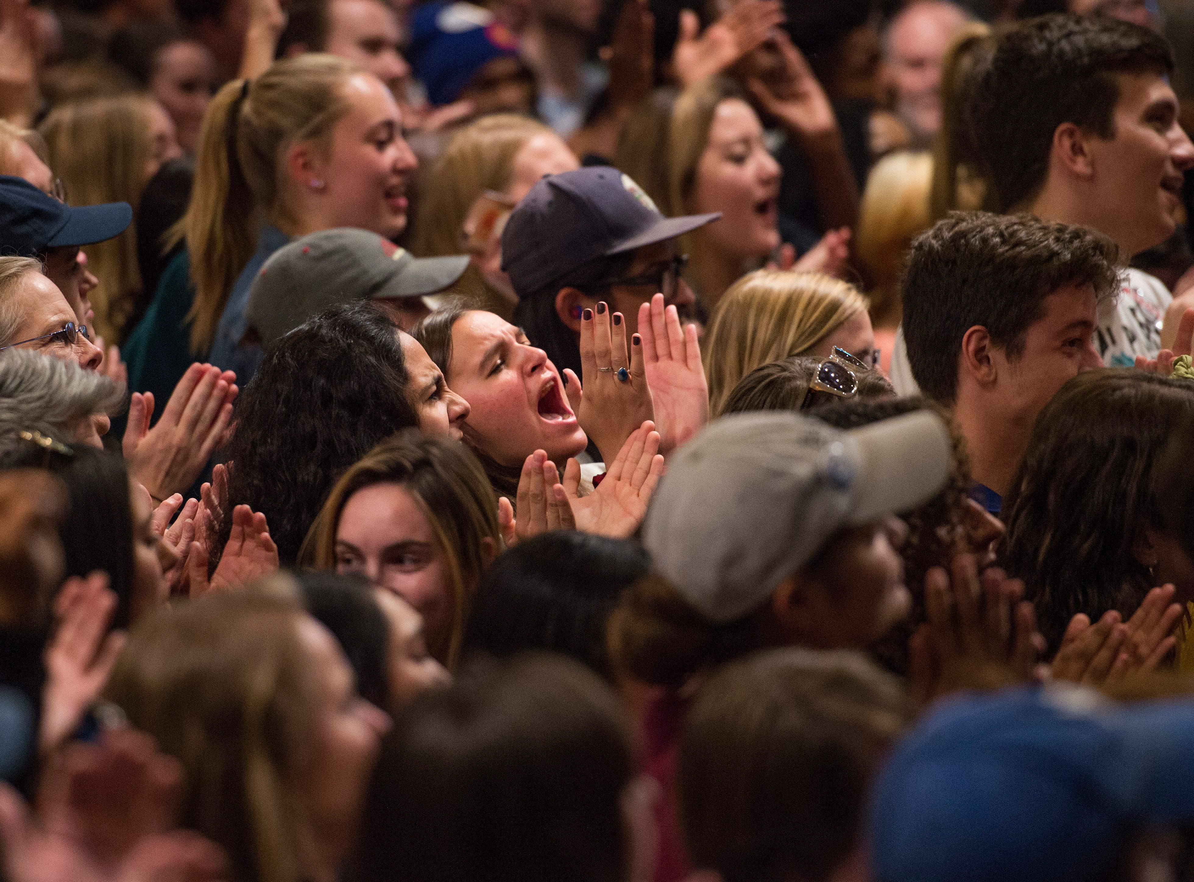 People cheer as U.S. Sen. Bernie Sanders speaks during a rally for Colorado Democrats at the Lory Student Center at CSU on Wednesday, October 24, 2018.