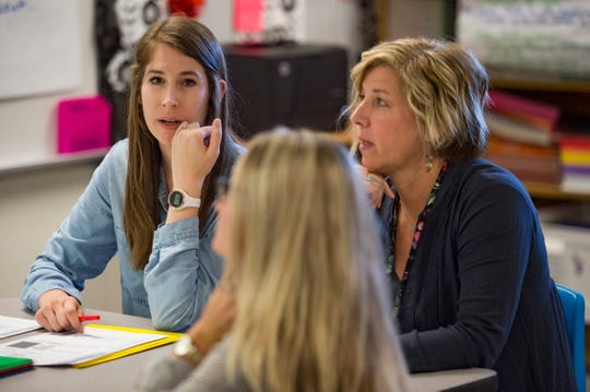 Fifth-grade teacher Amy Badzinski talks about her student's performance during a weekly meeting with fellow teaching staff at Putnam Elementary School on Thursday, October 25, 2018. Teachers at the school meet weekly to discuss their student's performance and how to break down gaps on student achievement.