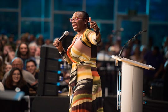 Nina Turner of Our Revolution speaks as she campaigns for Democratic candidate for Colorado Governor Jared Polis during a rally at the Lory Student Center at CSU on Wednesday, October 24, 2018.
