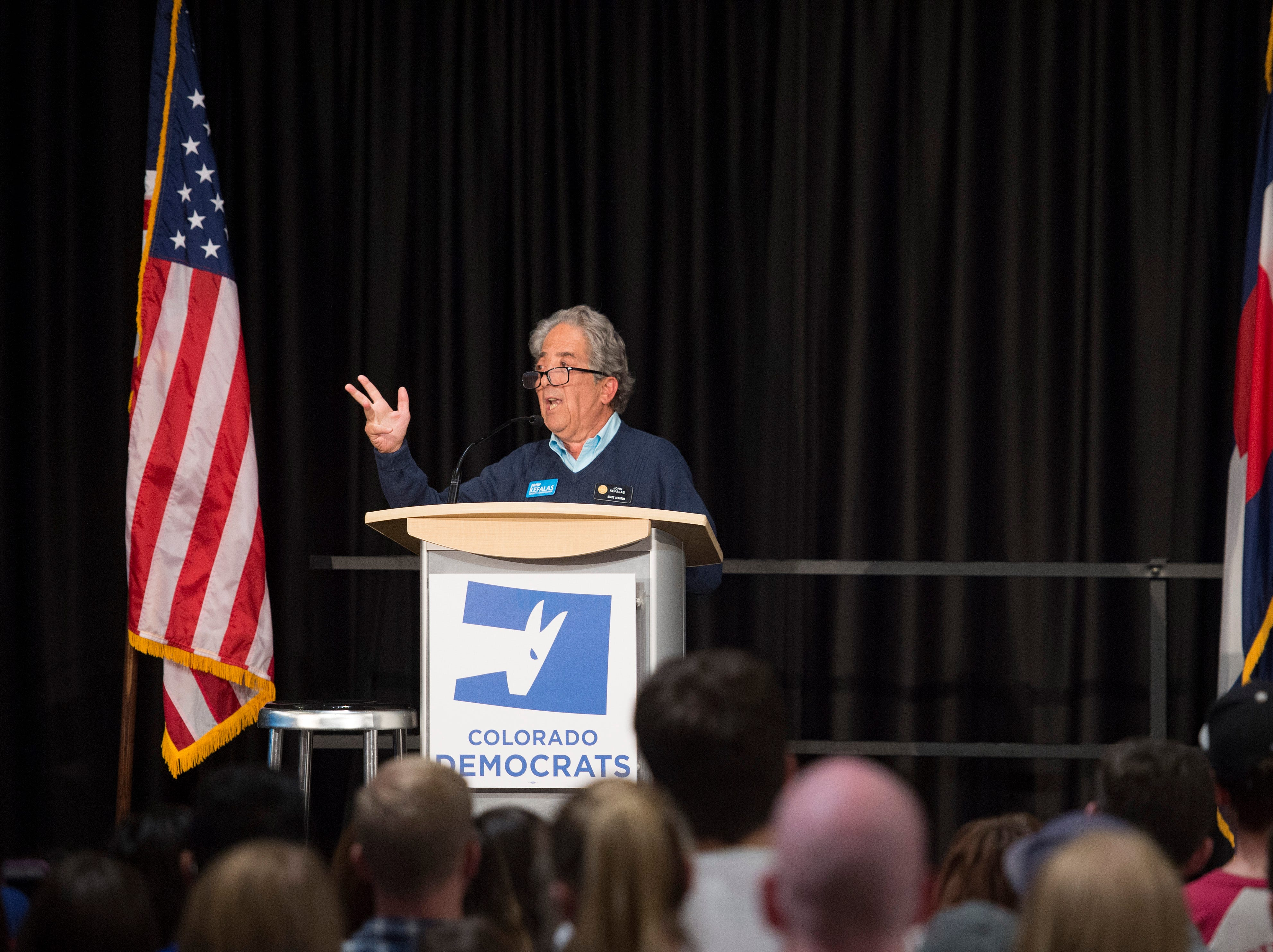 State Sen. and candidate for Larimer County Commissioner John Kefalas speaks to a crowd of around 1,800 during a rally for Colorado Democrats at the Lory Student Center at CSU on Wednesday, October 24, 2018.