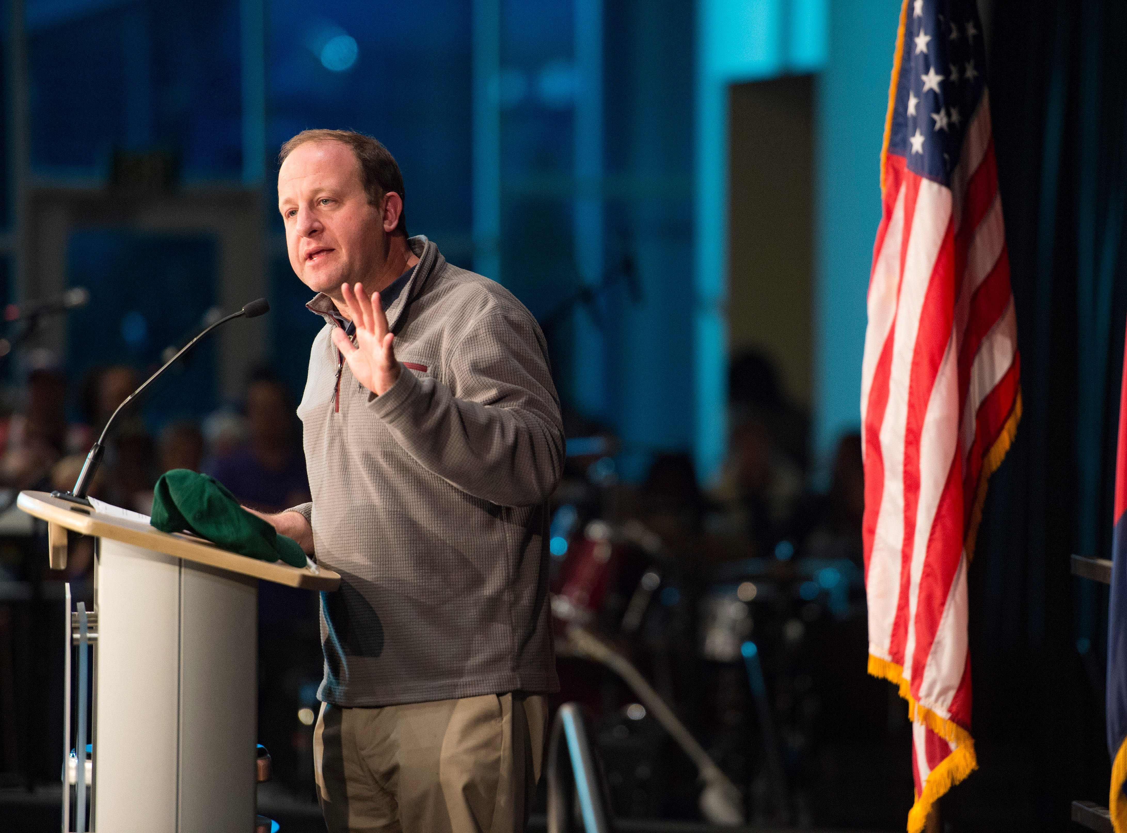 Democratic candidate for Colorado Governor Jared Polis speaks during a Colorado Democrats rally at the Lory Student Center at CSU on Wednesday, October 24, 2018.