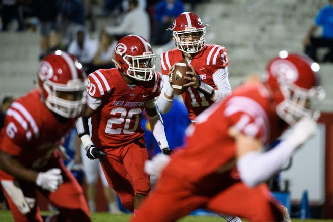 Greenville quarterback Davis Beville (11) has passed for 1,559 yards with 22 touchdowns for the Red Raiders.