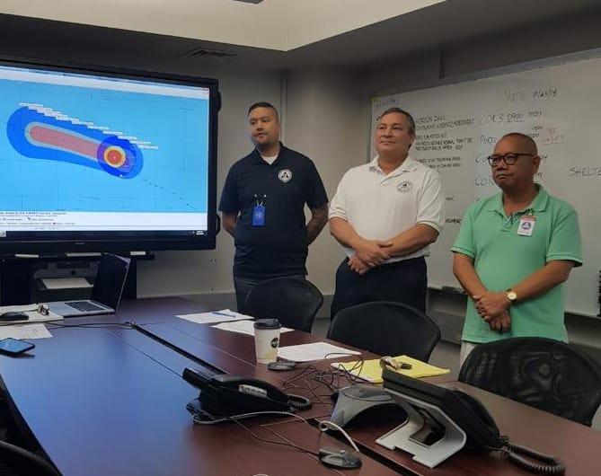 Governor Eddie Calvo addresses the media from the Joint Information Center regarding Typhoon Yutu