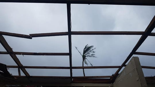This is what's left of Saipan resident Rosalyn Ajoste's roof in her house extension after Super Typhoon Yutu's ferocious winds plowed through Saipan and Tinian.
