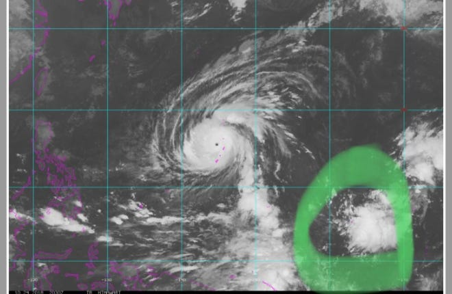 Cloudy area in circulating typhoon picture does not indicate weather troubles