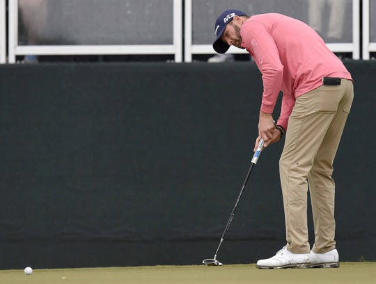 D.J. Trahan putts on the 18th green on Thursday, October 25, 2018, in the opening round of the Sanderson Farms Championship at the Country Club of Jackson in Jackson, Miss.