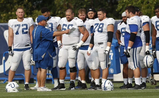 The Indianapolis Colts offensive line is protecting quarterback Andrew Luck, and perhaps starting to find an identity. Offensive line coach coach Dave DeGuglielmo worked with his players at training camp over the summer.