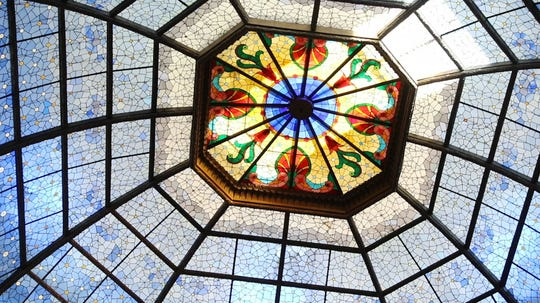 The stained glass dome is illuminated by the sun at the Indiana Statehouse in Indianapolis Ind. on Wednesday, Oct. 24, 2018.