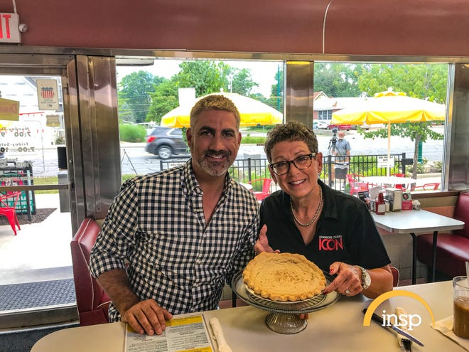 """""""State Plate"""" host Taylor Hicks samples sugar cream pie at Oasis Diner in Plainfield with Hendricks County food writer Faith Toole."""
