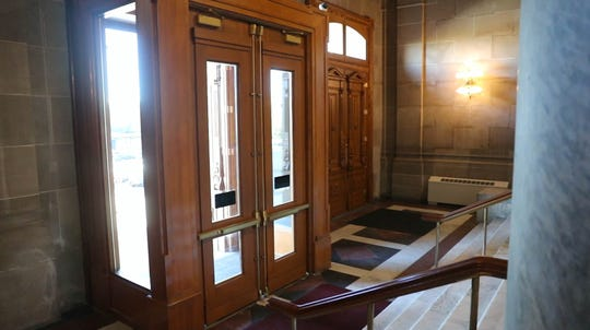 The doors used by legislators were the scene of a strange incident for Ind. St. Capitol Police Officer, Scott Alexander and a fellow officer at the Indiana Statehouse in Indianapolis Ind. on Wednesday, Oct. 24, 2018. Alexander, gave the IndyStar a tour of the haunted Indiana Statehouse.