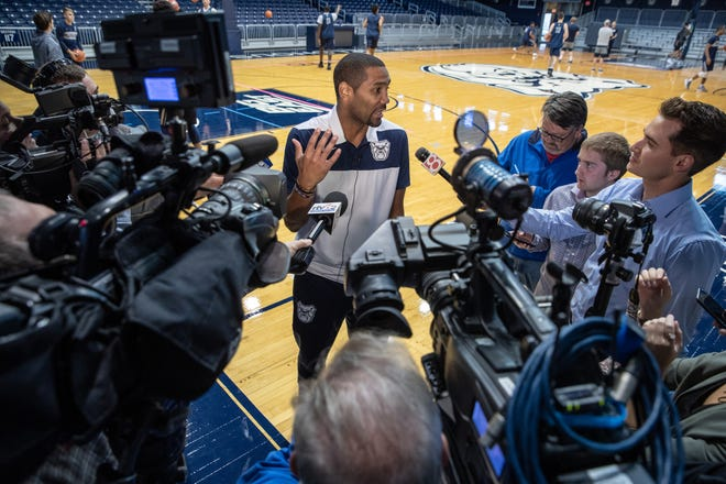 Butler Bulldogs head coach LaVall Jordan speaks with local media during Butler's media day at Hinkle Fieldhouse on Friday, Oct. 19, 2018.