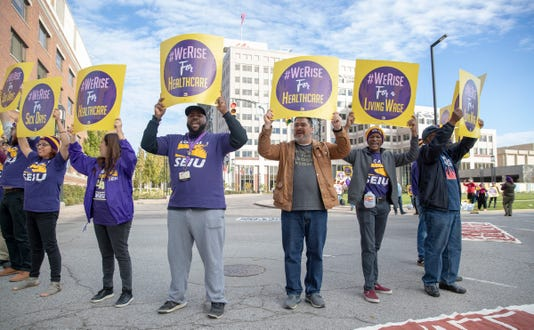 Janitors And Supporters Protest At Eli Lilly