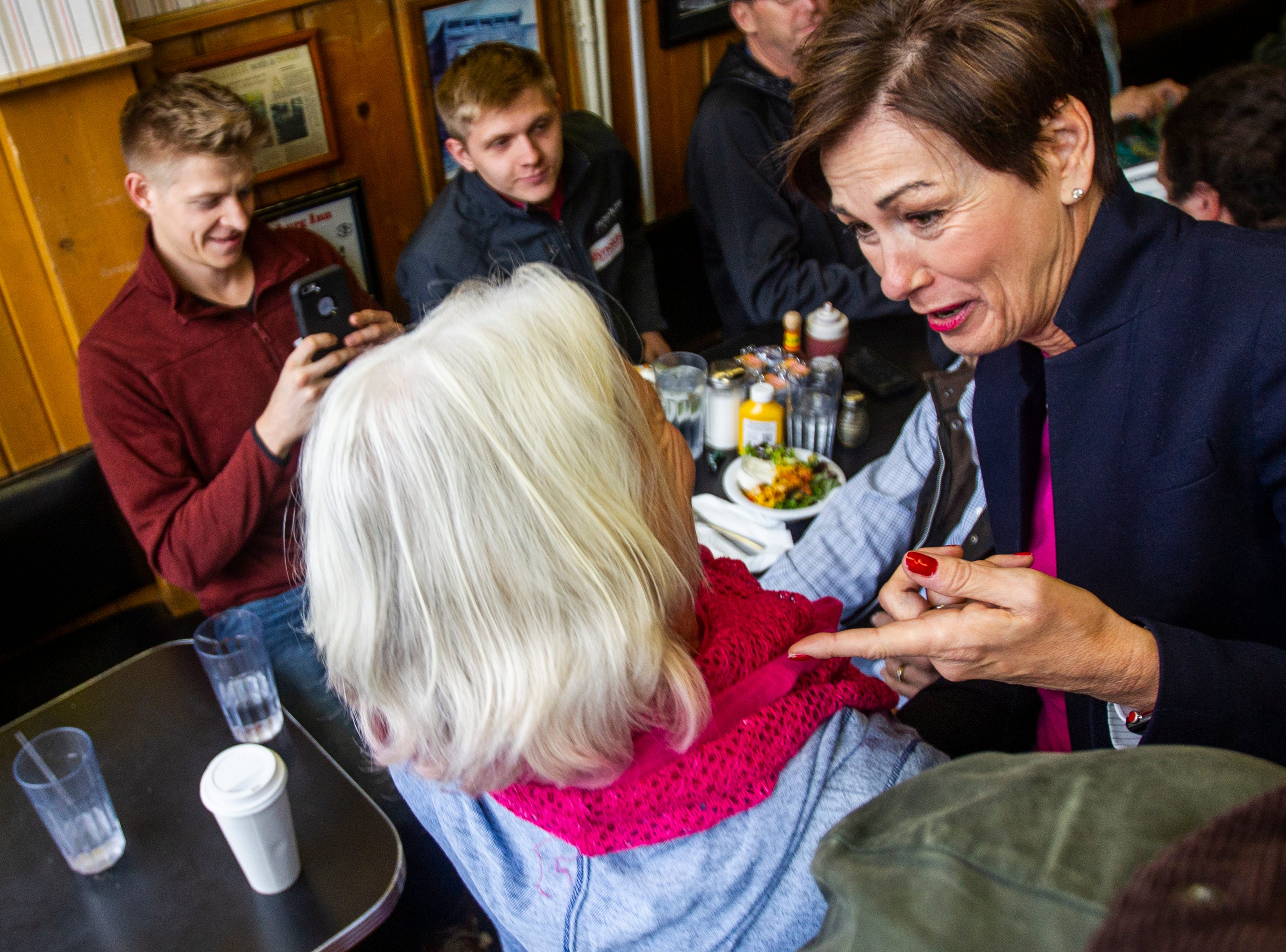 Iowa Gov. Kim Reynolds greets supporters during a campaign event on Thursday, Oct. 25, 2018, at Hamburg Inn No. 2 in Iowa City.