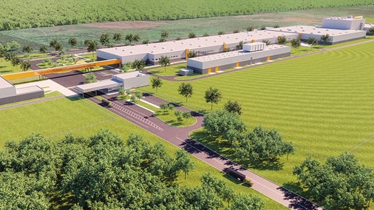 An artist rendering of what the Continental Tire plant in Clinton will look like after the initial phase of construction is complete.