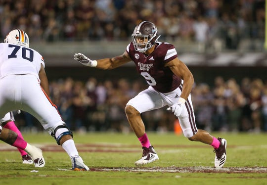 Mississippi State's Montez Sweat (9) is tied for third in the nation with 8.5 sacks this season. Photo by Keith Warren/Madatory Photo Credit