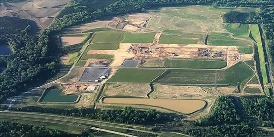 This aerial photo from August of the Continental Tire plant shows the massive amount of dirt work that has been done at the more than 900-acre site.
