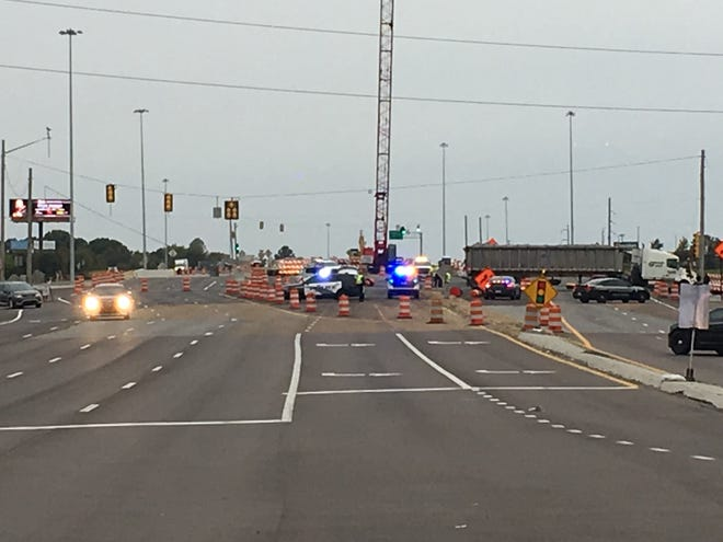 JPD working wreck at Bypass and I-40; detour in force.