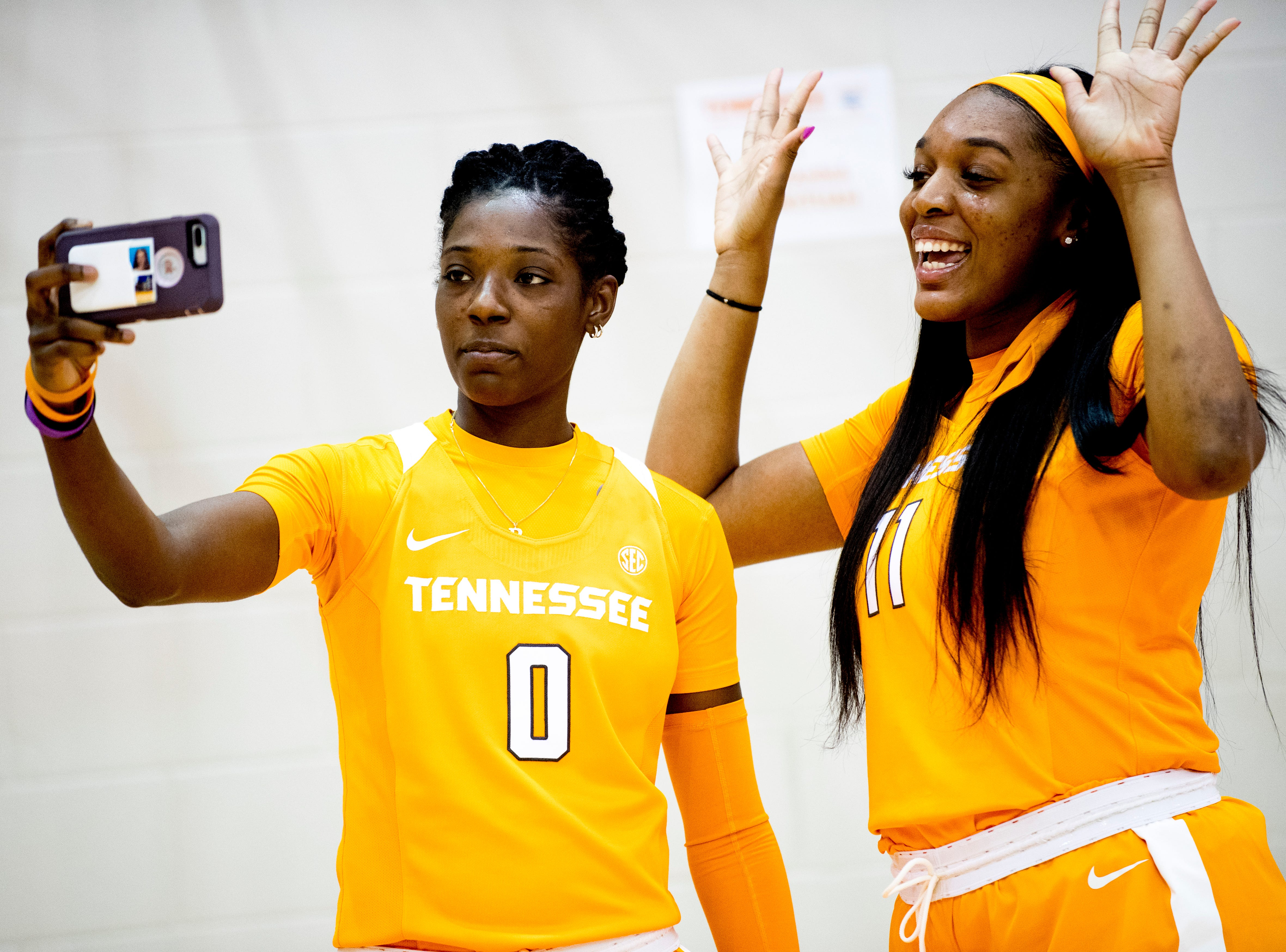 Rennia Davis (0) and Kasiyahna Kushkituah (11) take a selfie together during Tennessee Lady Vols Media Day at Pratt Pavilion in Knoxville, Tennessee on Thursday, October 25, 2018.