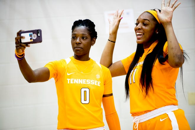 Rennia Davis (0) and Kasiyahna Kushkituah (11) take a selfie at Lady Vols Media Day on Oct. 25 at Pratt Pavilion.
