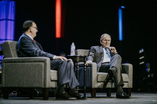 President George W. Bush and Phil Waldrep speak at the 2018 Celebrators Conference in Pigeon Forge on October 24, 2018.
