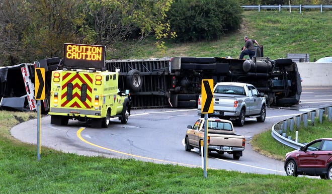 This tractor-trailer overturned on the ramp from Interstate 75 South onto 640 East Thursday, October 25, 2018.