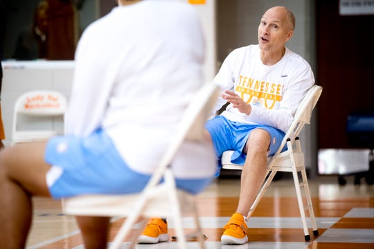 Assistant coach Dean Lockwood chats during Lady Vols Media Day on Oct. 25 at Pratt Pavilion.