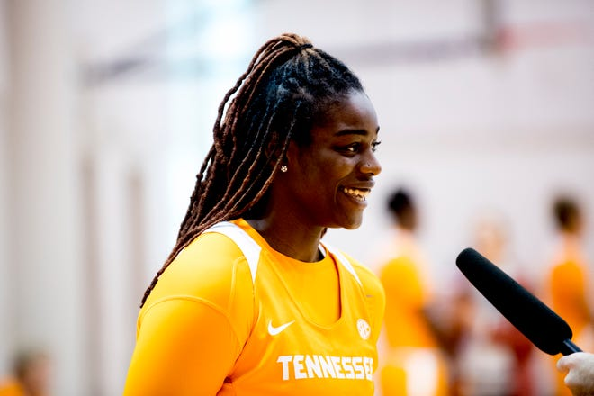 Cheridene Green does an interview during Tennessee Lady Vols' media day at Pratt Pavilion in Knoxville on Thursday.