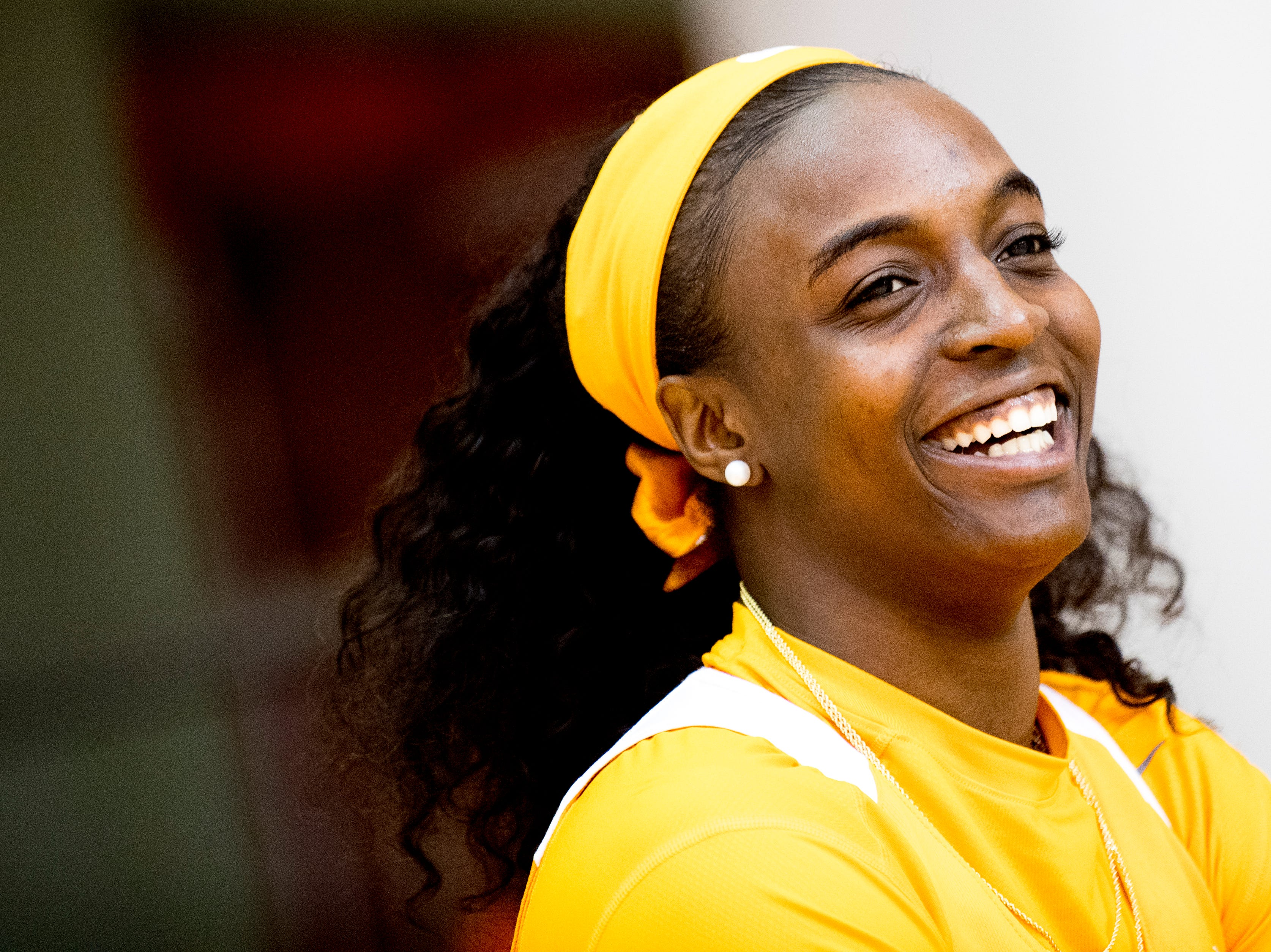 Meme Jackson (10) laughs during Tennessee Lady Vols Media Day at Pratt Pavilion in Knoxville, Tennessee on Thursday, October 25, 2018.