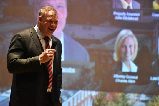 Mayor Glenn Jacobs reacts to a question by a student during College/Career Day at Powell High School.