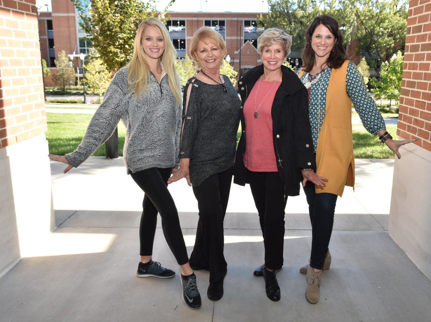 Former UT majorettes Lindsey Cupp Maples (2004-2008), Kathy McCarrell Smith (1970-1976), Judy Barton Cox (1962-1965) and Carrie DeLozier Creswell (1997-2000). All four are former head majorettes.