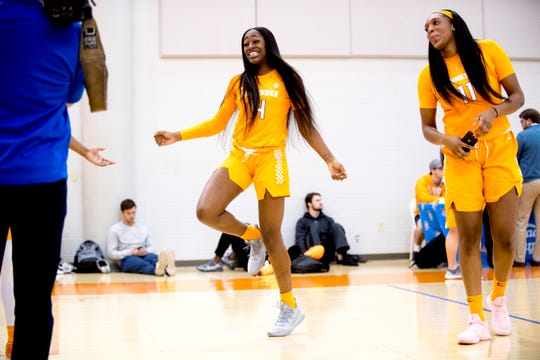 Zaay Green (14) dances during Tennessee Lady Vols Media Day at Pratt Pavilion in Knoxville, Tennessee on Thursday, October 25, 2018.