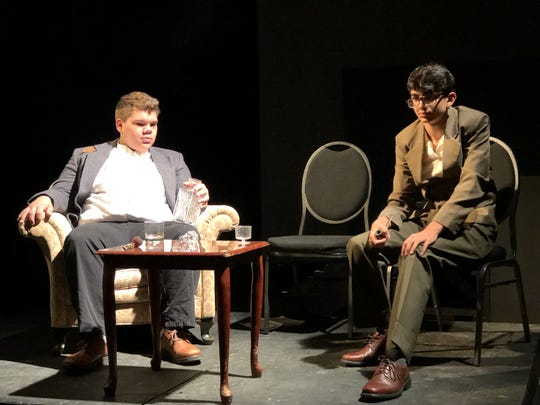 "Jacob Sousley and Hamzah Ismail rehearse a scene from ""The Purloined Letter"" on Oct. 24 for ""An Evening with Edgar Allan Poe"" coming Nov. 1 and 3 at Central High School."