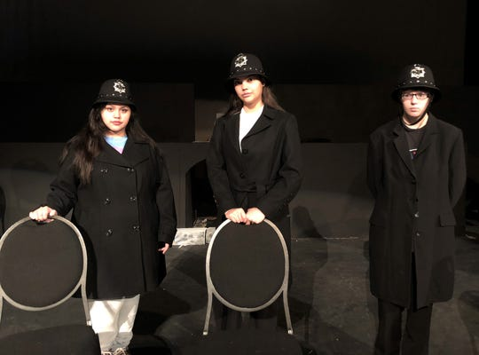 "Central High students Heaven Ramsey, Angela Lester and Becca Wolff play police officers in Edgar Allan Poe's mystery ""The Purloined Letter"". The short work is part of a collection to be performed at ""An Evening with Edgar Allan Poe"" on Nov. 1 and 3."