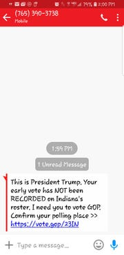 Apparently President Donald J. Trump is texting Lafayette-area voters based on this text a J&C reader received.
